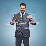 Businessman working with virtual screen Royalty Free Stock Photos