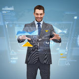 Businessman working with virtual screen Stock Photography