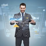 Businessman working with virtual screen Royalty Free Stock Images
