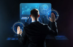 Businessman working with virtual screens Stock Photography