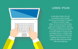 Businessman working at a white laptop. Hand on notebook keyboard with blank screen monitor. Flat design concept with copy space. Vector illustration EPS10 Royalty Free Stock Image
