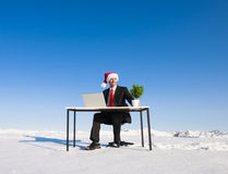 Businessman Working in Wintertime on the Hill Stock Photography