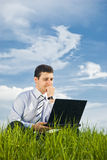 Businessman Working With Laptop Royalty Free Stock Image