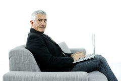 Businessman workingon laptop Royalty Free Stock Photography