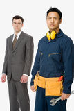 Businessman and workman Stock Photography