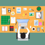 Businessman in workplace with office table top view Stock Images