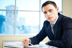 Businessman at workplace Royalty Free Stock Photo