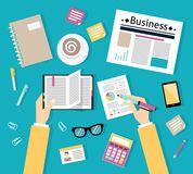 Businessman workplace top view Stock Image