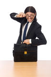 The businessman at workplace  on white Royalty Free Stock Photography