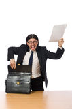 The businessman at workplace  on white Stock Photo
