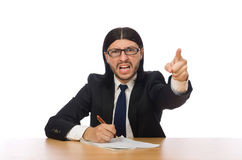 The businessman at workplace  on white Stock Image