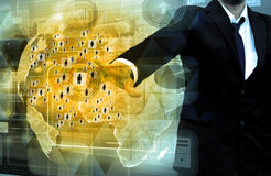 Businessman works with business  Network Display. Businessman works with business and technology Network Display Royalty Free Stock Images