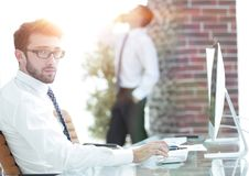 Businessman works with business papers. At your Desk Stock Photos