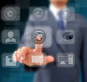 Businessman works with business and technology Network. Display Stock Photography