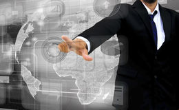 Businessman works with business and technology Network. Display Stock Photo