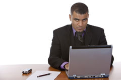 Businessman works on laptop in office Stock Images