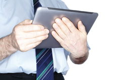 Businessman works. With modern mobile computer Stock Image
