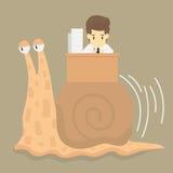 Businessman works slowly like snail Stock Photo