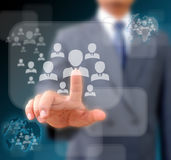 Businessman works with Social Network. Display Stock Photography