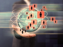 Businessman works with Social Network Display Stock Images