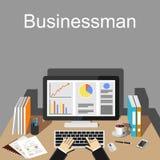 Businessman workspace illustration. Flat design illustration concepts for business, finance, management, career, business strategy, business statistics Stock Photos