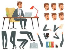 Businessman workspace. Vector mascot creation kit. Various key frames for business character animation. Business man character emotion and gesture, create royalty free illustration