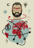 Businessman and world. Concept retro grunge poster with a hipster man. Vector illustration. Royalty Free Stock Photography
