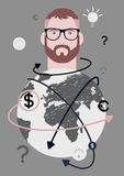 Businessman and world. Concept retro poster with a hipster man. Vector illustration. Stock Photo