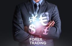 Businessman with world of currency forex trading Stock Images