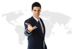 Businessman with world map. Businessman in blue suit with world map Stock Images