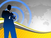 Businessman on World Map Background Stock Image