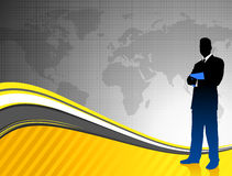 Businessman on World Map Background Royalty Free Stock Images