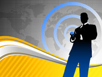 Businessman on World Map Background Royalty Free Stock Photography