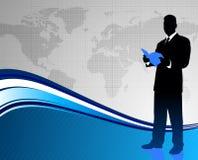 Businessman on World Map Background Royalty Free Stock Photos