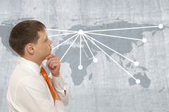 Businessman with world map Stock Image