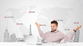 Businessman with world map and major landmarks of the world Stock Images