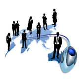Businessman and world map with mouse Royalty Free Stock Photo