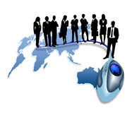 Businessman and world map with mouse Royalty Free Stock Photography