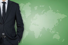 Businessman and world map Stock Photos