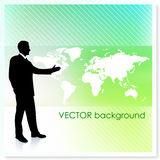 Businessman with World Map on Vector Background Stock Photos