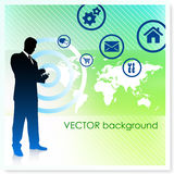 Businessman with World Map on Vector Background Royalty Free Stock Photo