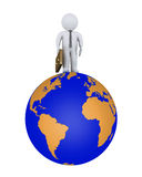 Businessman on the world. Businessman is standing on top of the world Stock Images
