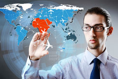 The businessman in world transportation concept Stock Images