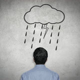 Businessman worry. A drawing of raining means worry stock illustration