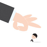 Businessman, worry and fear hand of boss kicked or strum, abstract of business recruitment concept Royalty Free Stock Photo