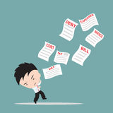 Businessman, worry and fear the list of bills or invoice for payment, down from the sky, financial concept. Businessman, worry and fear the list of bills or Royalty Free Stock Photo