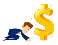 Businessman Worshipping Money Golden Dollar Sign Royalty Free Stock Image