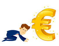 Businessman Worshipping Money Golden Euro Symbol. Vector stock of a businessman bow down and worship a big shiny golden euro currency symbol Stock Image