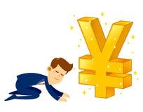 Businessman Worshipping Money Golden Japanese Yen Symbol Royalty Free Stock Photos