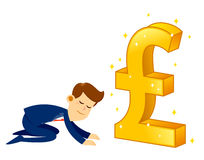 Businessman Worshipping Money Golden Pound Sterling Symbol Royalty Free Stock Photography